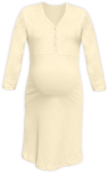 Tehotenská dojčiaca nočná košeľa PAVLA 3/4 - latte veľ.S/M