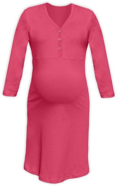Tehotenská, dojčiace nočná košeľa PAVLA 3/4 - lososovo ružová-M/L