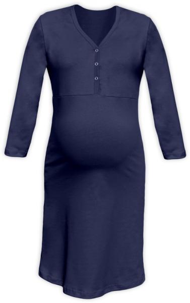 Tehotenská, dojčiace nočná košeľa PAVLA 3/4 - tm. modrá