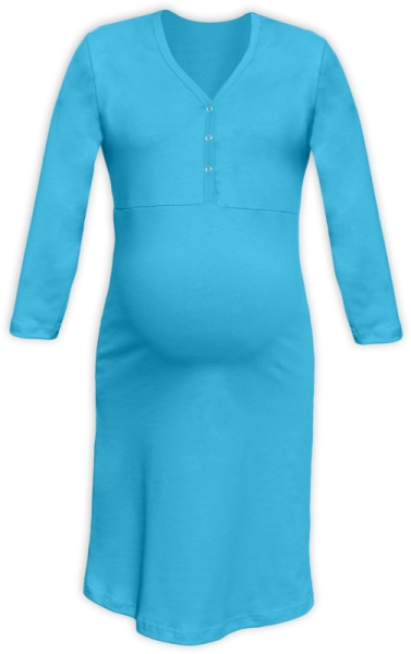 Tehotenská dojčiaca nočná košeľa PAVLA 3/4 - tyrkys