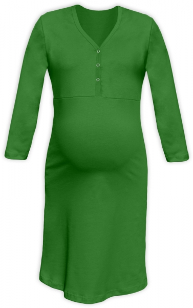 Tehotenská dojčiaca nočná košeľa PAVLA 3/4 - zelená