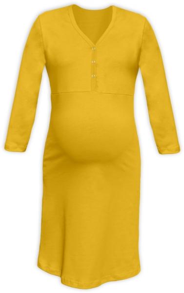 Tehotenská dojčiaca nočná košeľa PAVLA 3/4 - žltá