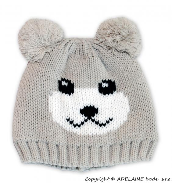 Zimná čiapka PANDA - béžová s nádychom do šedej
