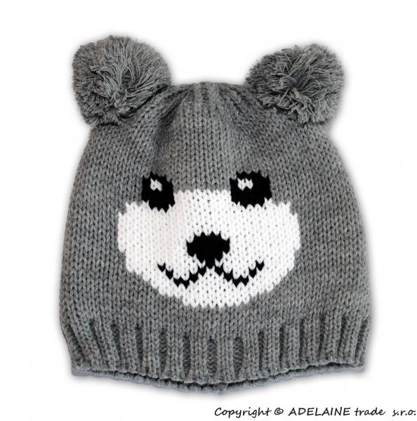 Zimná čiapka PANDA - sv. šedá