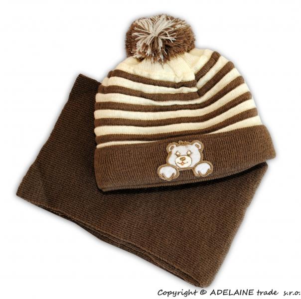Zimná čiapočka s šálom - Medvedík