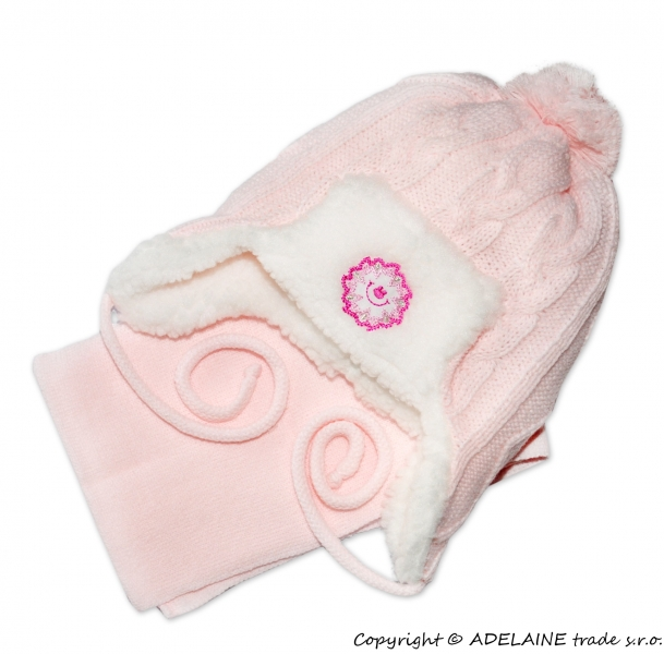 Zimná čiapočka s kožušinkou a šálom - sv. ružová