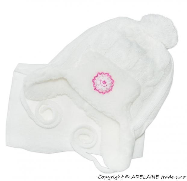Zimná čiapočka s kožušinkou a šálom - biela