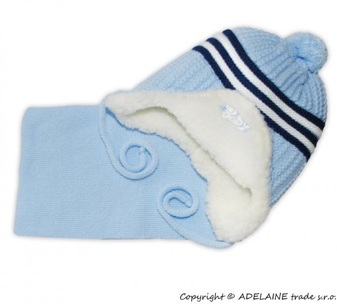 Zimná čiapočka s kožušinkou a šálom Baby - sv. modrá