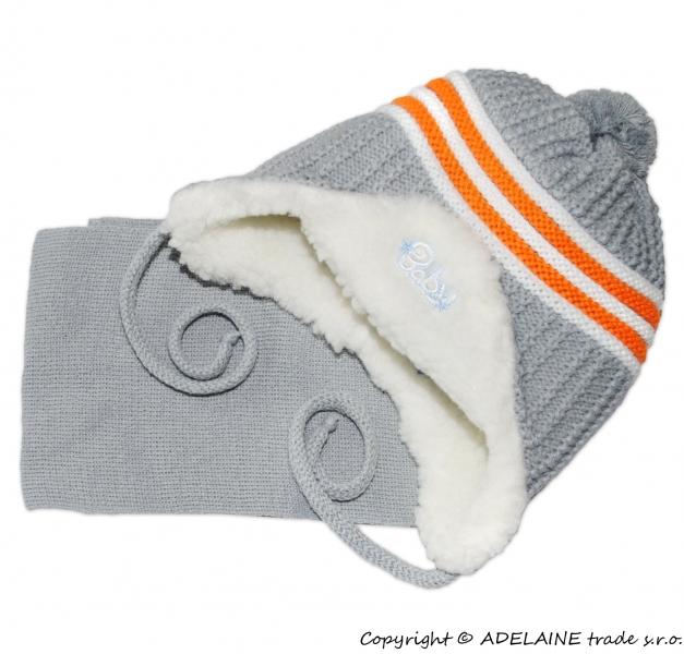 Zimná čiapočka s kožušinkou a šálom Baby - šedá