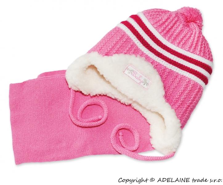 Zimná čiapočka s kožušinkou a šálom Baby - ružová