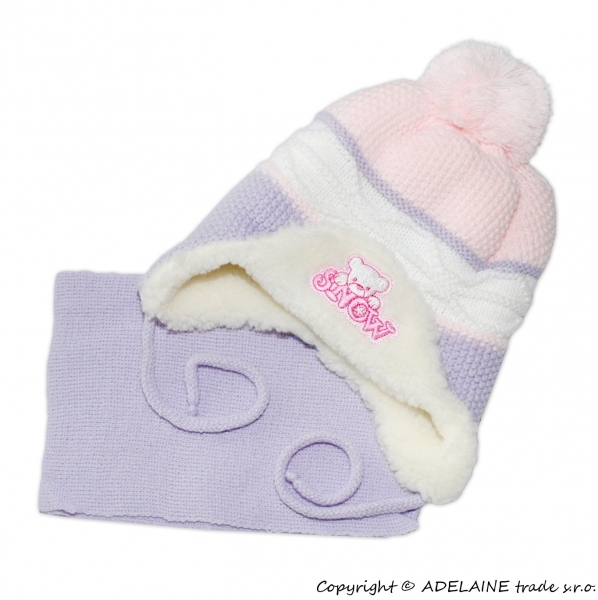 Zimná čiapočka s kožušinkou a šálom Baby - sv.ružová / lila