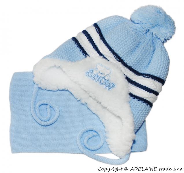 Zimná čiapočka s kožušinkou a šálom Baby - sv. modré - tm. modré pruhy s vlnkou