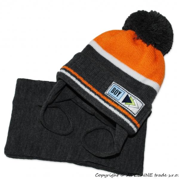 Zimná čiapka BOY - grafit s oranž