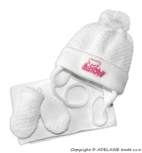Sada - čiapočka, šál a rukavičky Macko - biely (ružová výšivka)