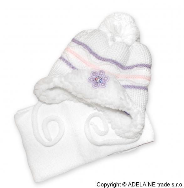 Zimná čiapočka s kožušinkou a šálom Baby - biela / sv.ružová / lila