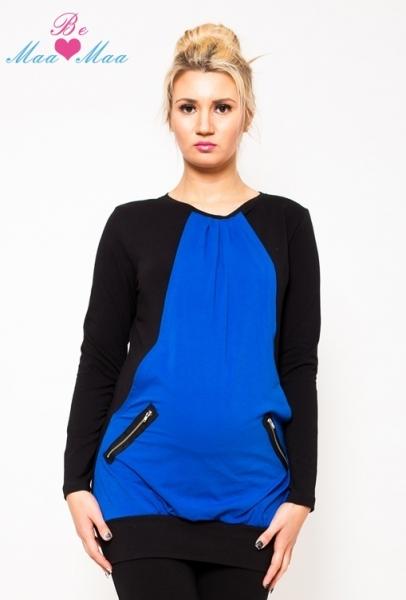Tehotenská tunika UMA - modrá / čierna