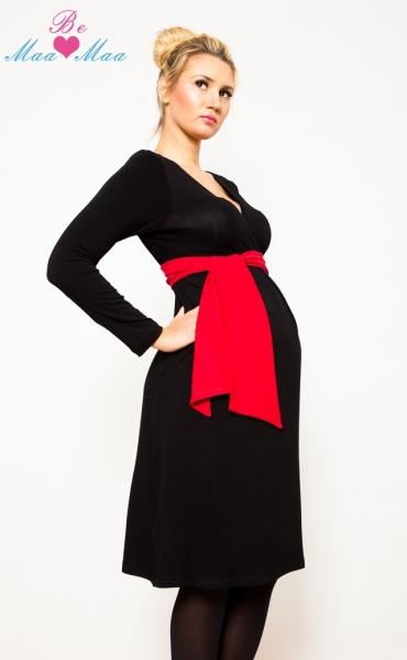 Tehotenské šaty KALYPSO dl. rukáv - červený losos