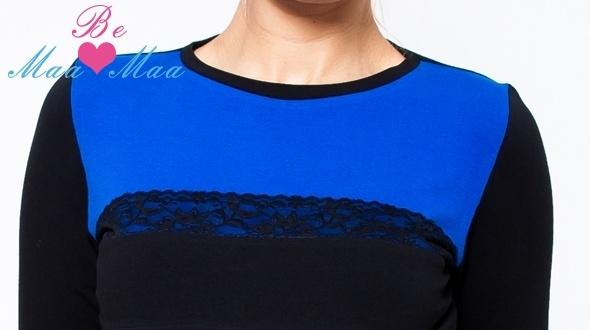 Be MaaMaa Tehotenské tričko / blúzka Ivana - čierna / modrá, DOJČIACE