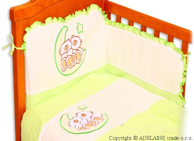 Mantinel s obliečkami Terjan - Medvedíky na nechtíka - jersey zelený
