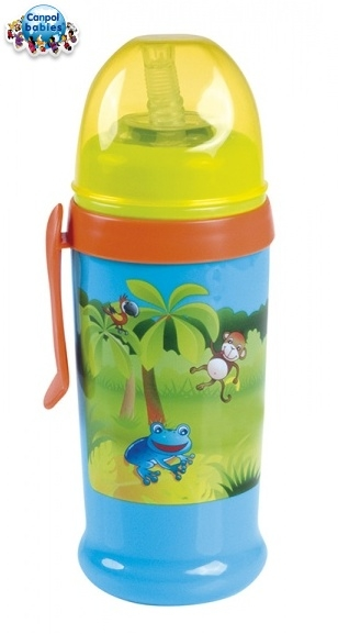 Športová nekvapkajúci fľaša s slamkou Canpol Babies - tyrkys / oranž