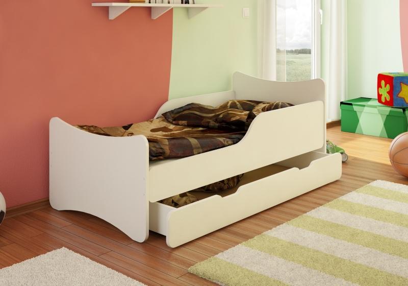NELLYS Dětská postel´so zábranou a zásuvkou - biela, 160x80 cm