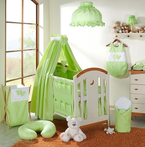 Baldachýn lux z celej látky - Srdiečko zelené