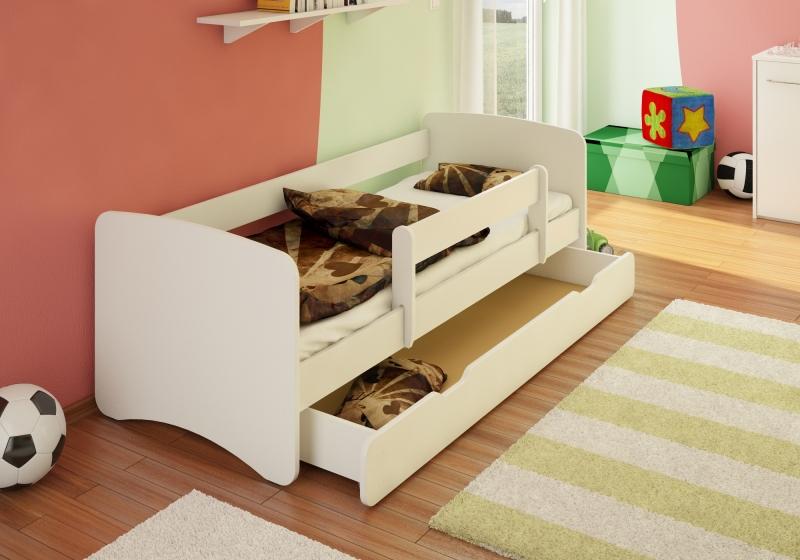 Detská posteľ s bariérkou a  zásuvkou Filip - biely, 160x70 cm