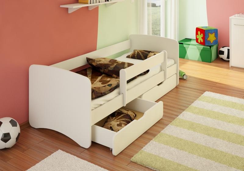 Detská posteľ s bariérkou a  zásuvkou Filip - biely, 180x80 cm