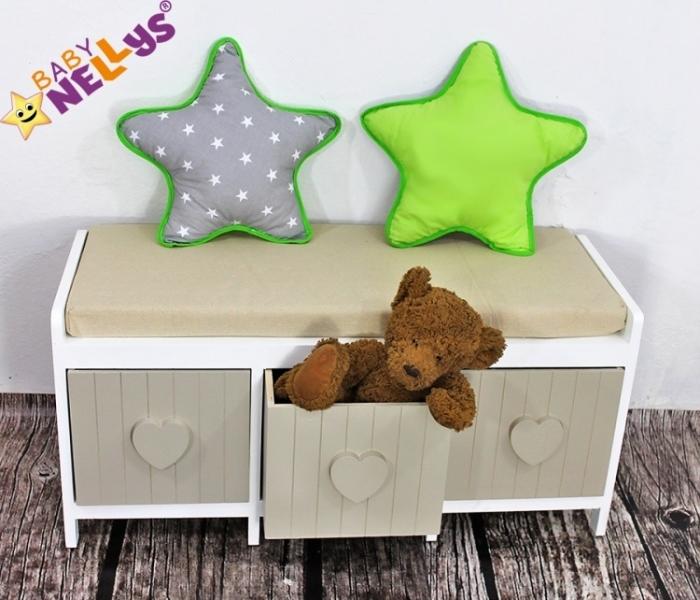 Baby Nellys Dekoračný obojstranný vankúšik - Hviezdička, vzor č. 1