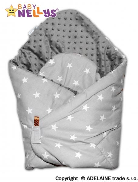 Luxusné zavinovačka Mink BABY - obojstranná sivé hviezd / sivá