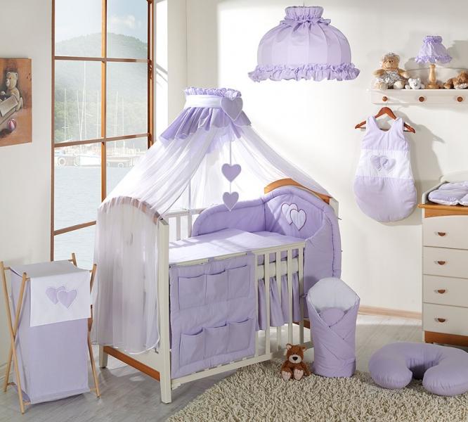 Luxusný mega set komplet s moskytiérou - Srdiečko lila