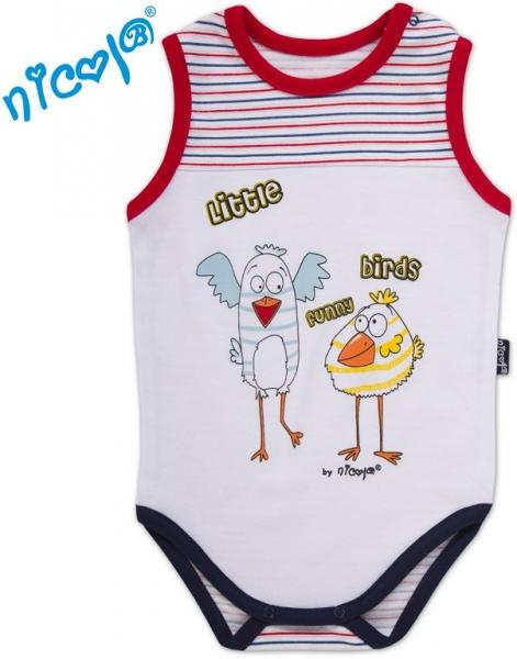 Body na ramienko Little Funny Birds - biela / čevenomodrý prúžok