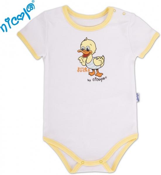 Body kr.rukáv s potlačou Little Ducks - biela / žltý lem