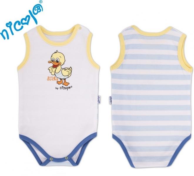 Body na ramienko Little Ducks - biela / vs, modrý pruh