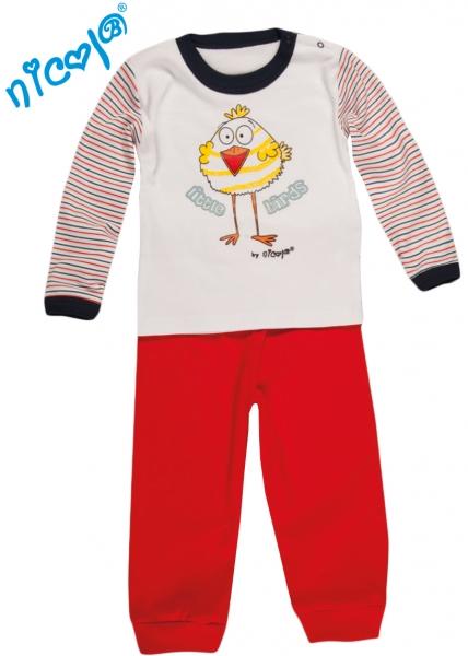 Pyžamko Little Funny Birds - biela / červená