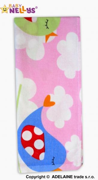Baby Nellys Flanelová plienka - Vtáčiky v ružovej