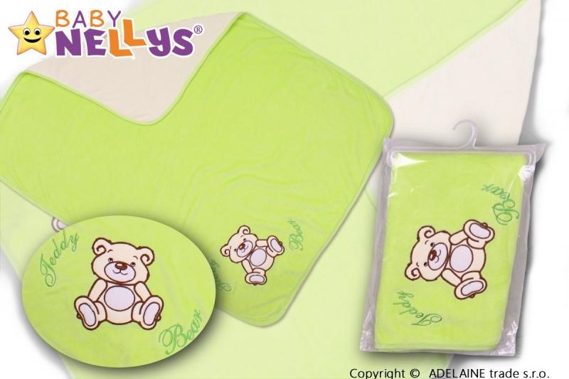 Baby Nellys  Deka froté / velúr - Macko Teddy - zelená