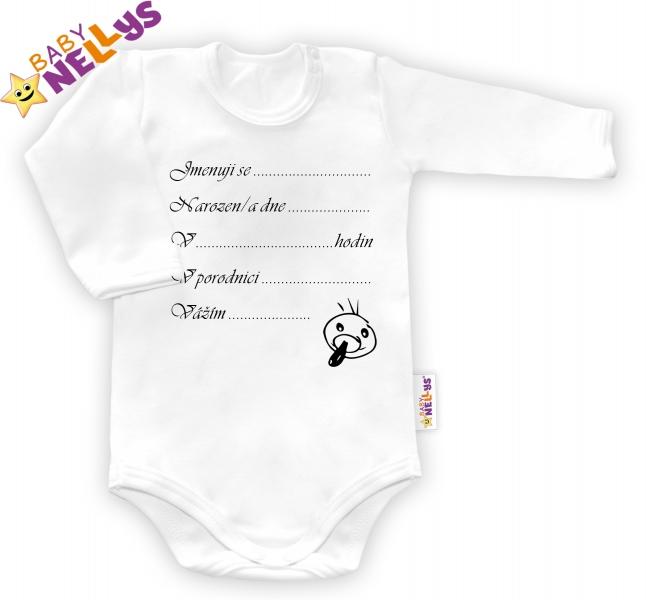 Body dl. rukáv vel. 80, Baby Nellys ® - biele - Narodil som sa ...