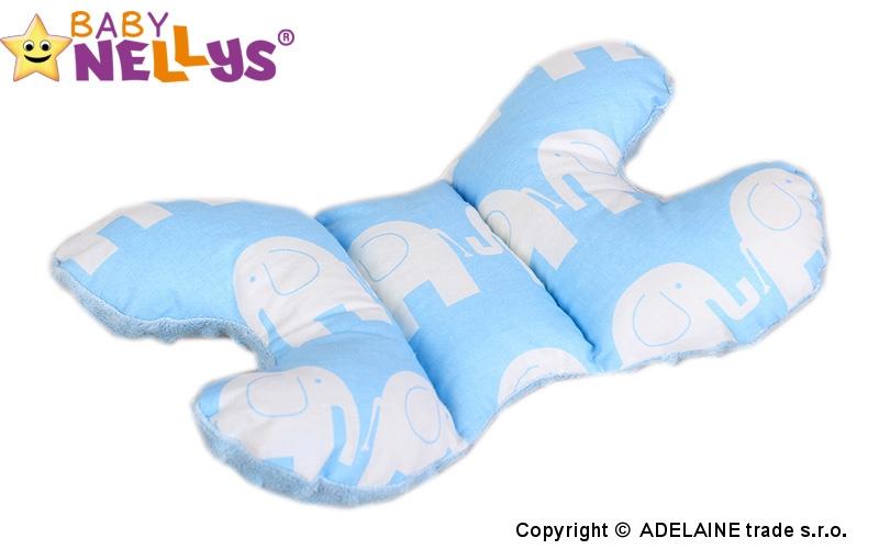 Vankúšik - MOTÝĽ stabilizácii hlavičky Slony sv. modrí / sv.modrá