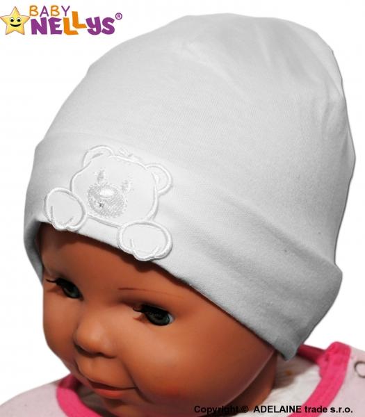 Bavlnená čiapočka Medvedík Baby Nellys ® - biela