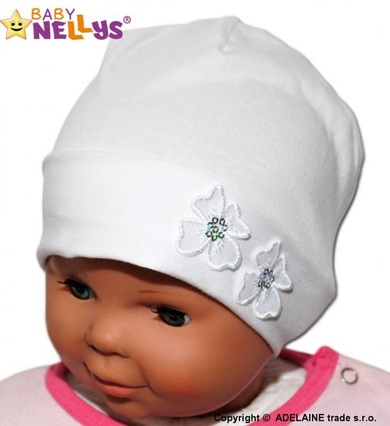 Bavlnená čiapočka Kvetinky Baby Nellys ® - biela-38/42 čepičky obvod