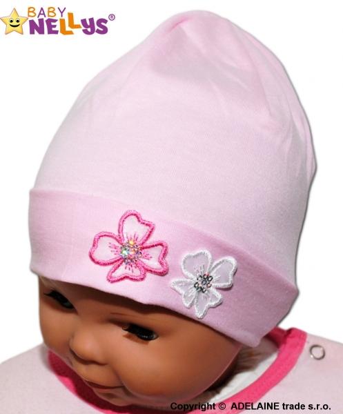 Bavlnená čiapočka Kvetinky Baby Nellys ® - sv. ružová