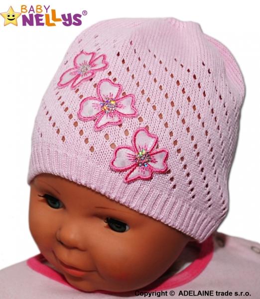 Háčkovaná čiapočka Kvetinky Baby Nellys ® - sv. ružová-38/42 čepičky obvod