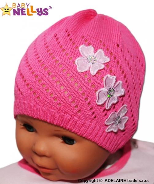 Háčkovaná čiapočka Kvetinky Baby Nellys ® - tm. ružová-38/42 čepičky obvod