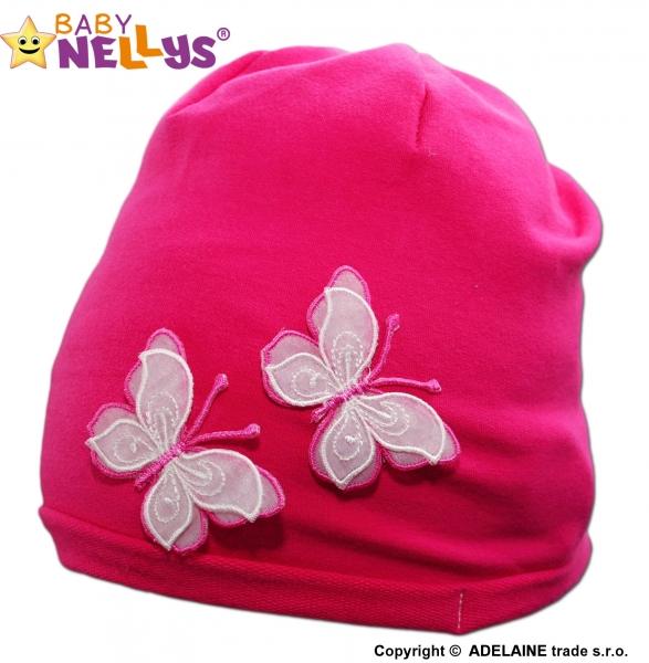 Bavlnená čiapočka Motýliky Baby Nellys ® - tm. ružová-48/52 čepičky obvod