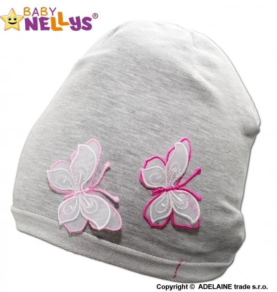 Bavlnená čiapočka Motýliky Baby Nellys ® - sivý melír-48/52 čepičky obvod