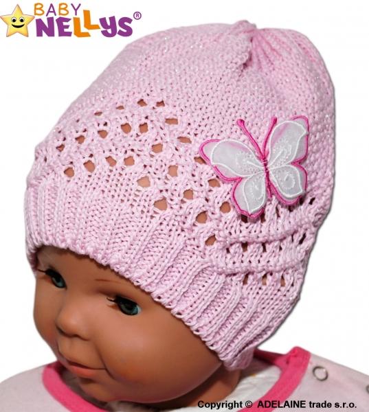 Háčkovaná čiapočka Motýlik Baby Nellys ® - ružová-#Velikost koj. oblečení;44/48 čepičky obvod