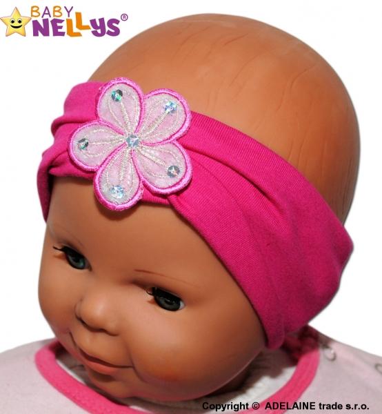 Čelenka Baby Nellys ® s kvetinkou - malinová