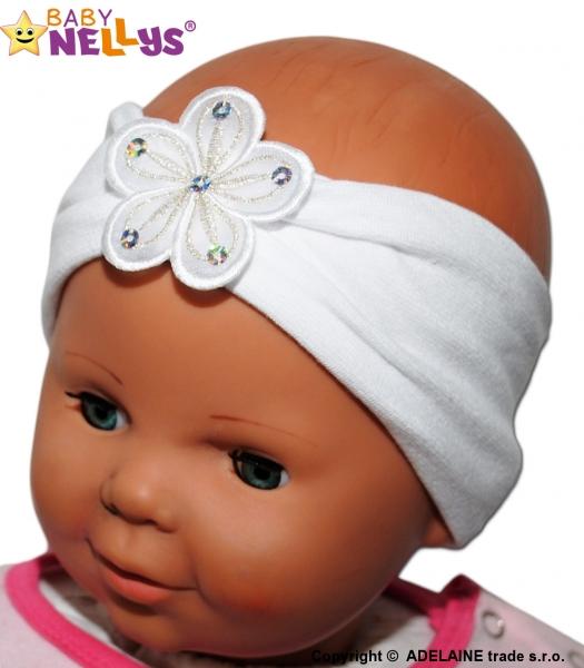 Čelenka Baby Nellys ® s kvetinkou - biela