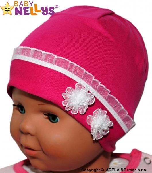 Bavlnená čiapočka kytička s čipkou Baby Nellys ® - sýto ružová